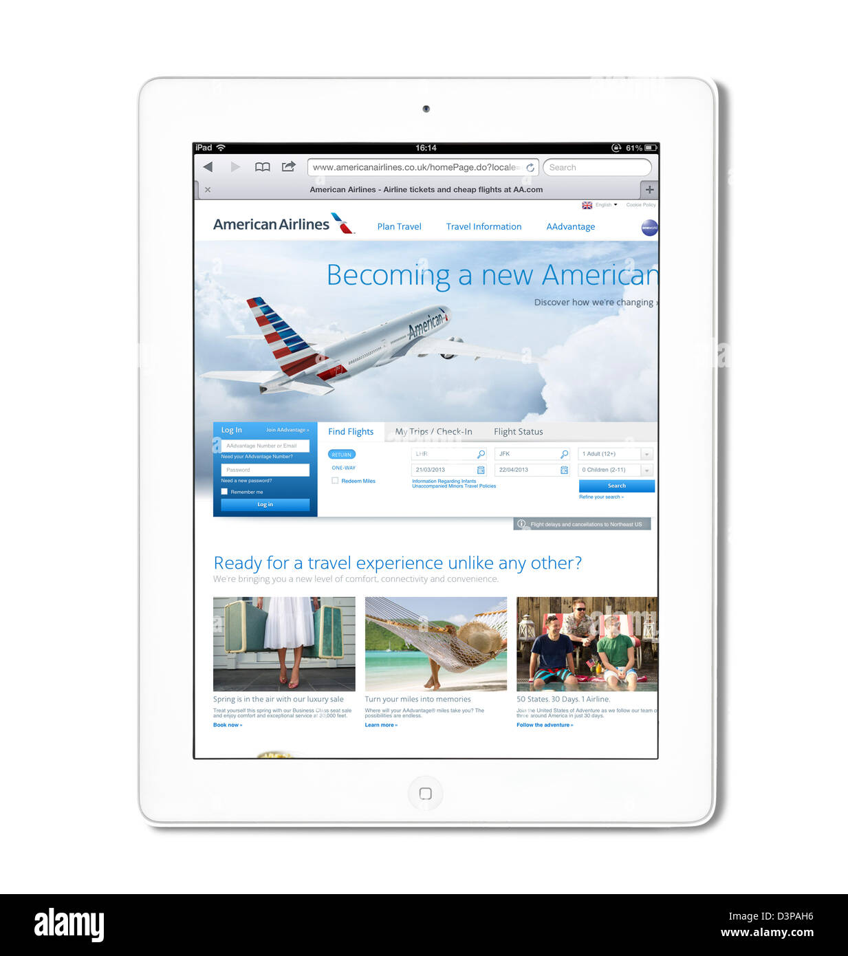 The American Airlines UK website viewed on a white 4th generation Apple iPad tablet computer Stock Photo