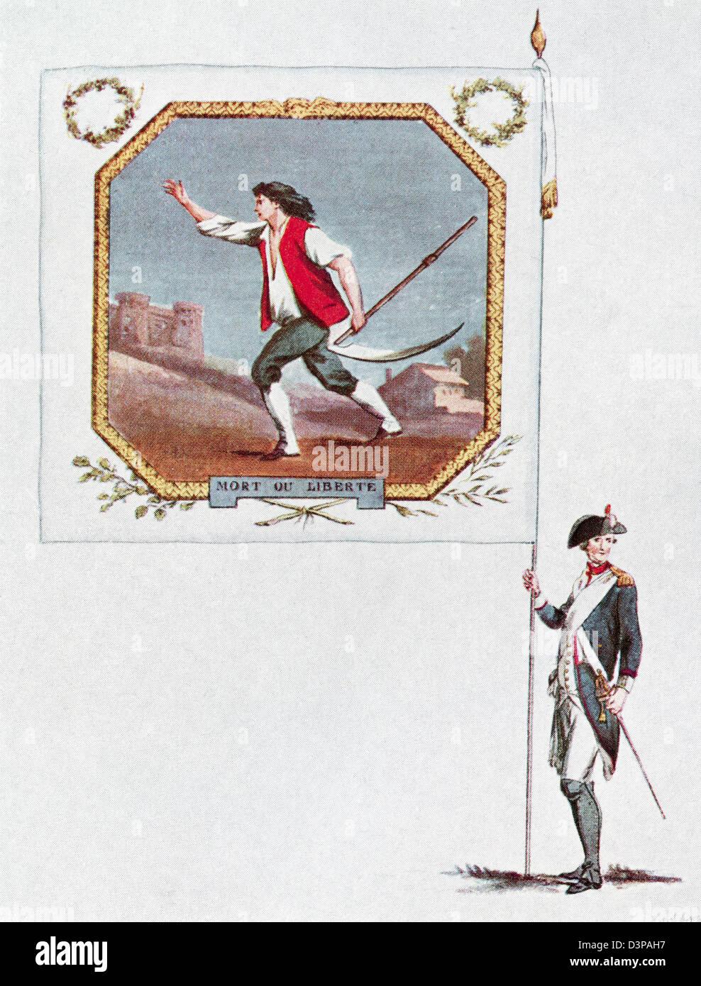 Battalion flag of the Parisien National Guard, Saint Marcel Battalion. - Stock Image