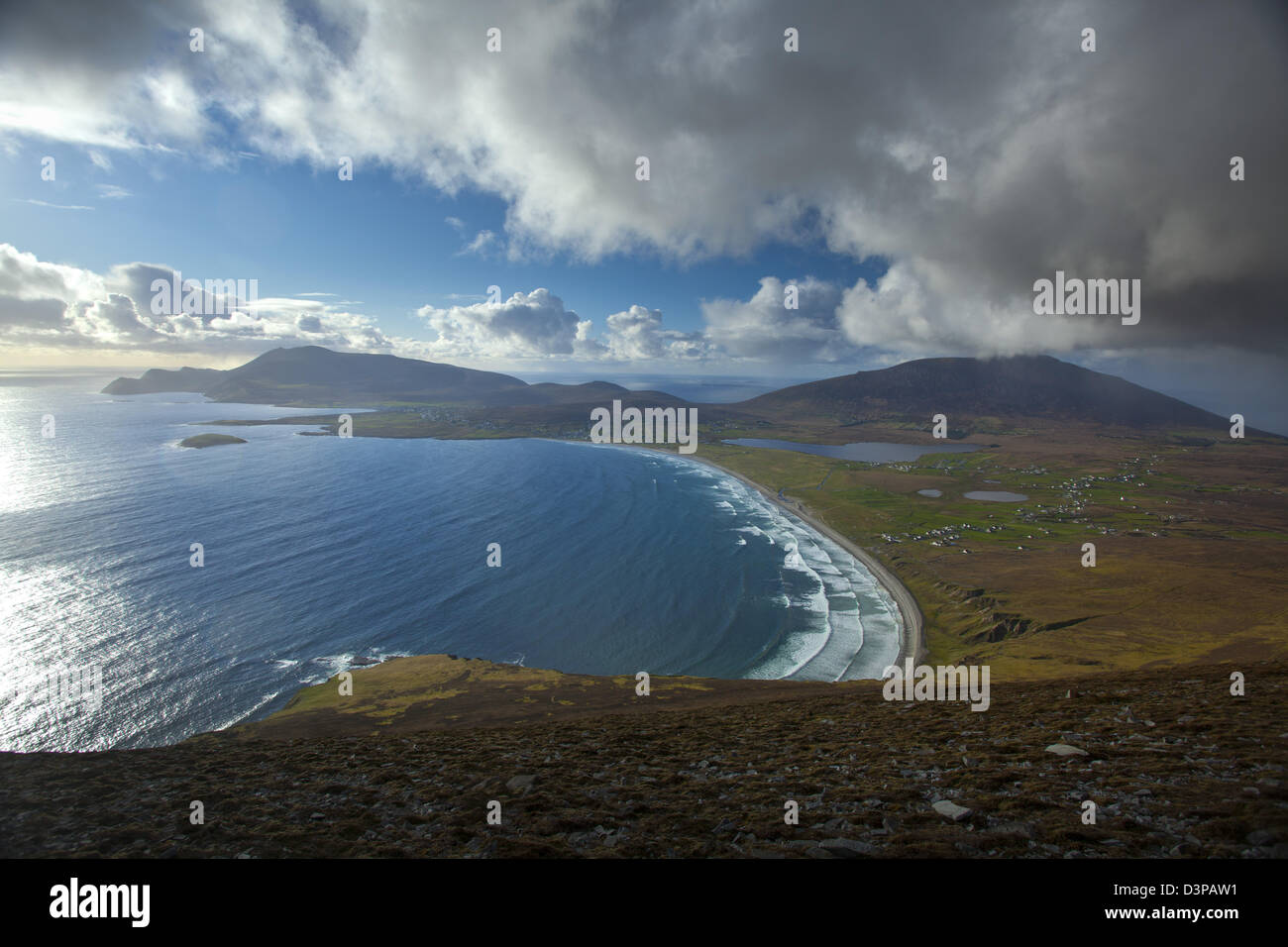 View across Achill Island towards Croaghaun, from the Menawn Cliffs, County Mayo, Ireland. - Stock Image
