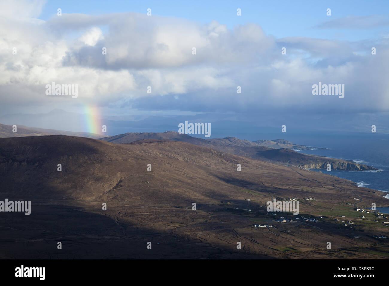 Rainbow over Knockmore, Achill Island, County Mayo, Ireland. - Stock Image