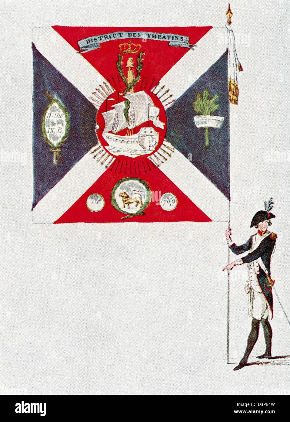 Battalion flag of the Parisien National Guard, Battalion Des Théatins. - Stock Image