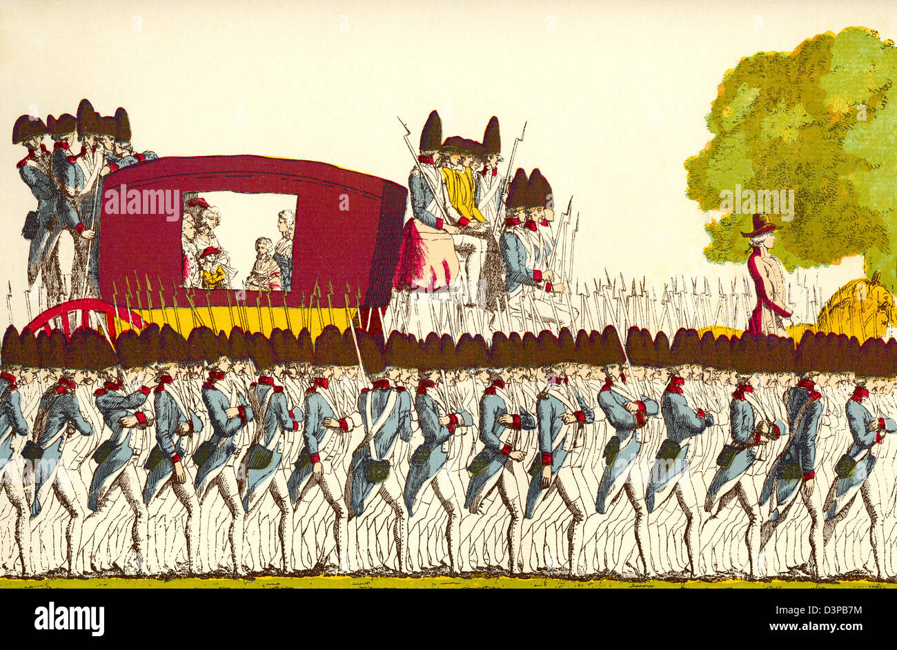 The return of the French royal family to Paris, France, 25th June 1791. - Stock Image