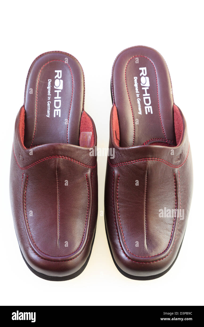 3297af3d000 Top down of a pair of lady s burgundy leather Rohde slip-on slippers from  above