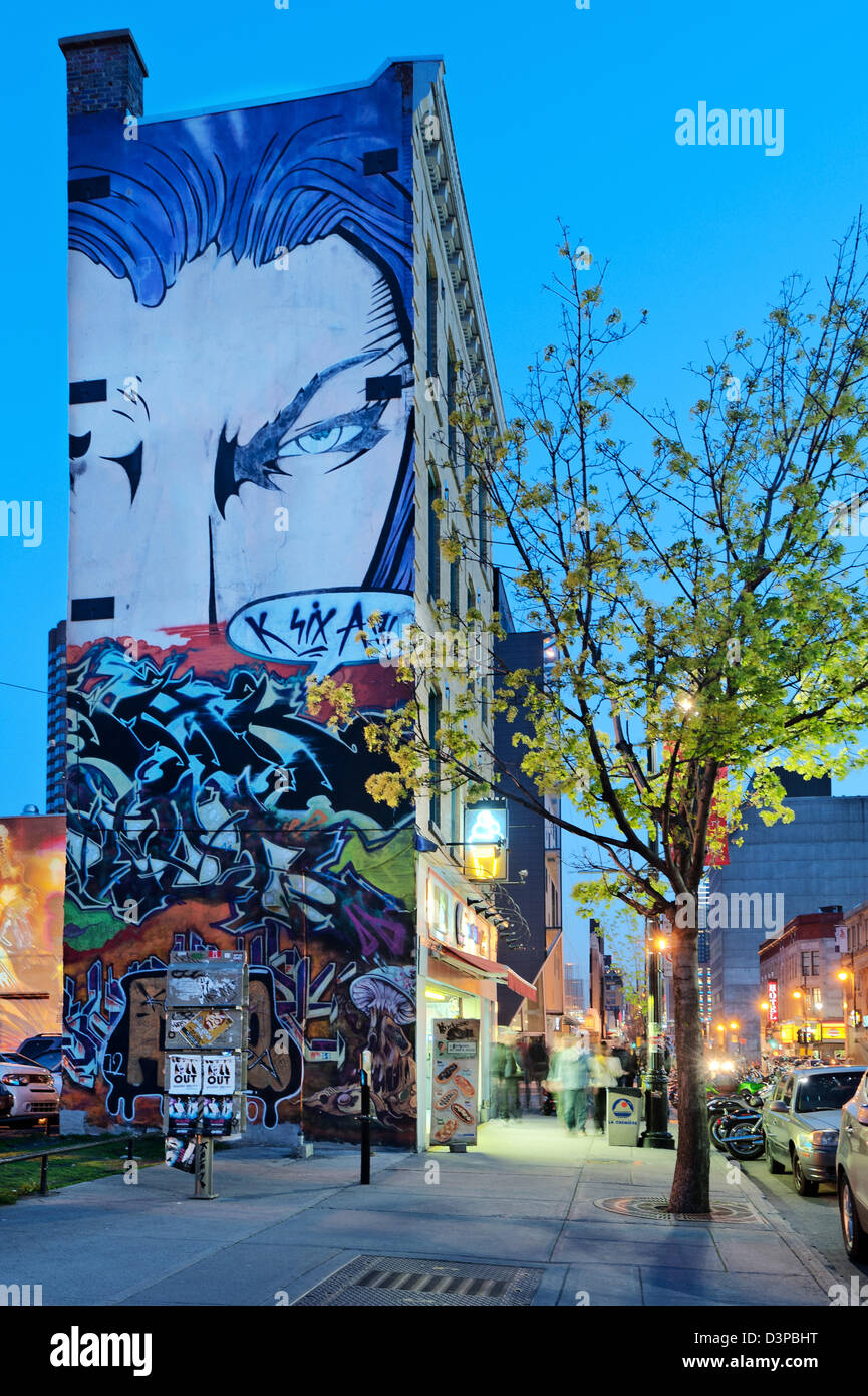 Mural in Quartier des Spectacles, rue sainte catherine, downtown montreal, quebec, Canada - Stock Image