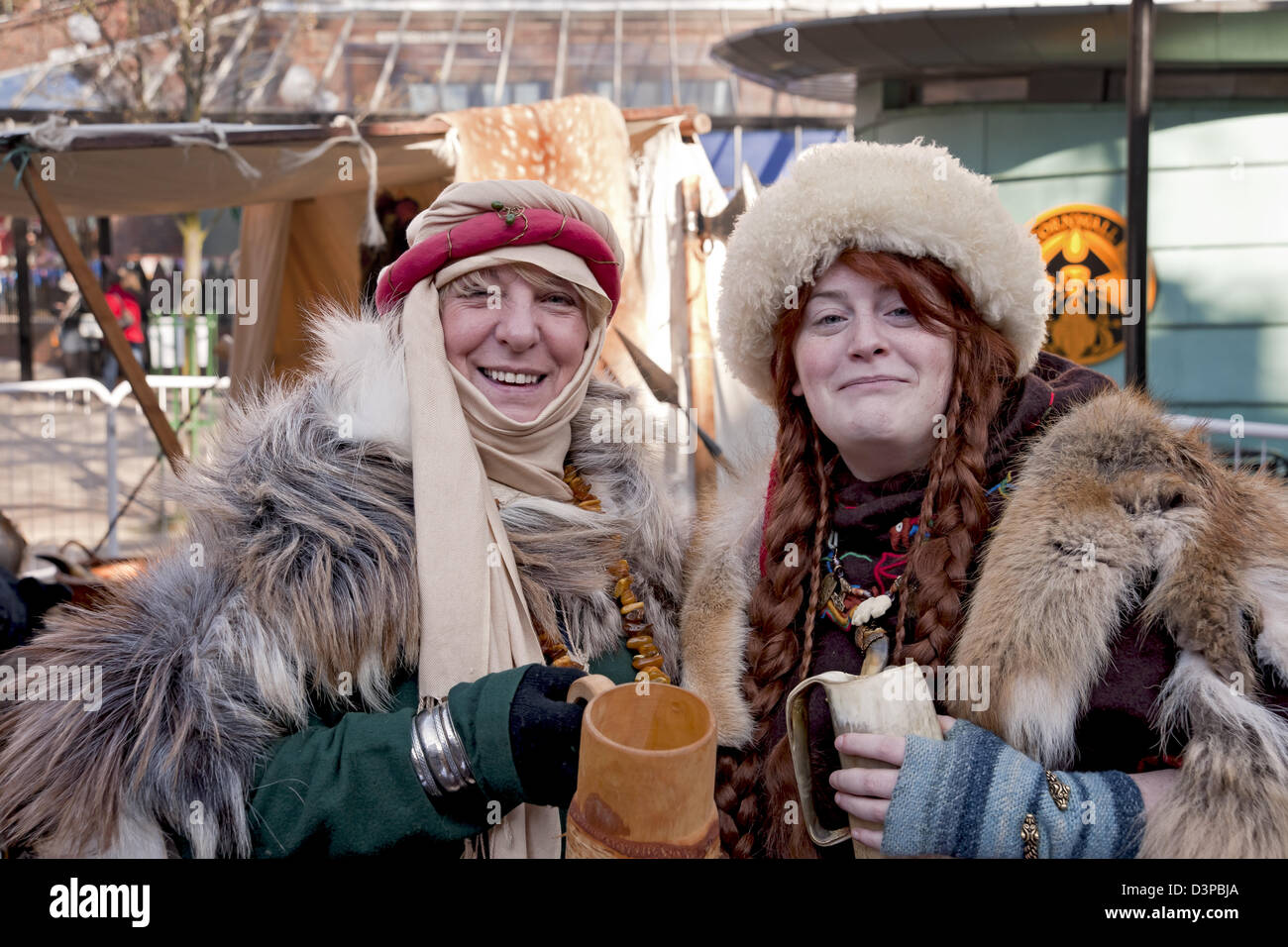 Two ladies in costume at the Viking Festival York North Yorkshire England UK United Kingdom GB Great Britain - Stock Image