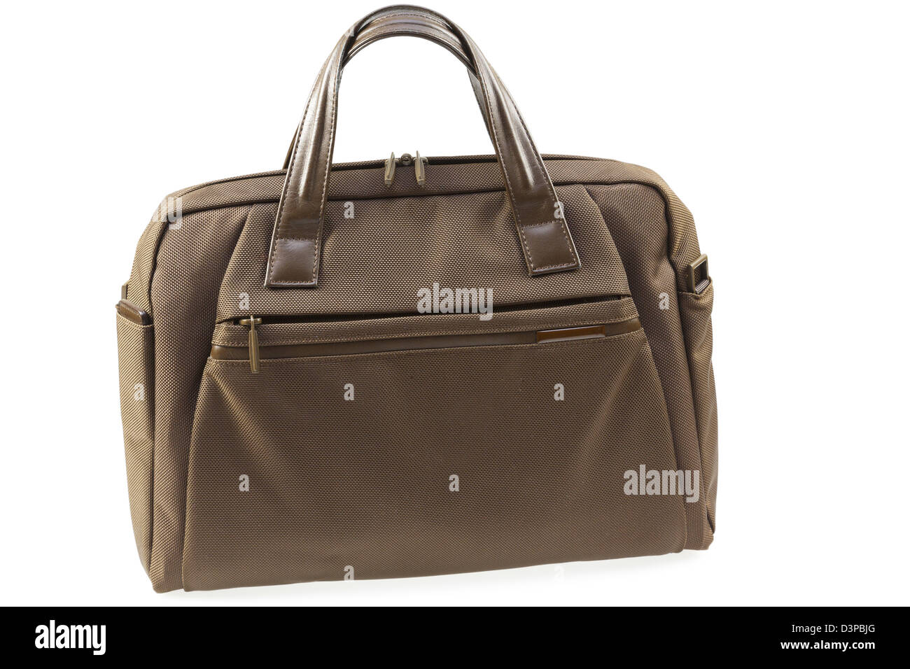 Closed brown briefcase isolated on a white background. - Stock Image