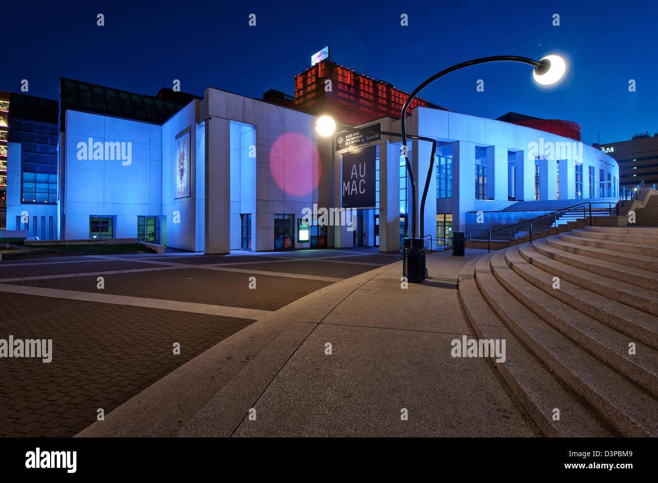 Contemporary art museum, musée d'art contemporain, Quartier des Spectacles, Place des Arts, downtown montreal, - Stock Image