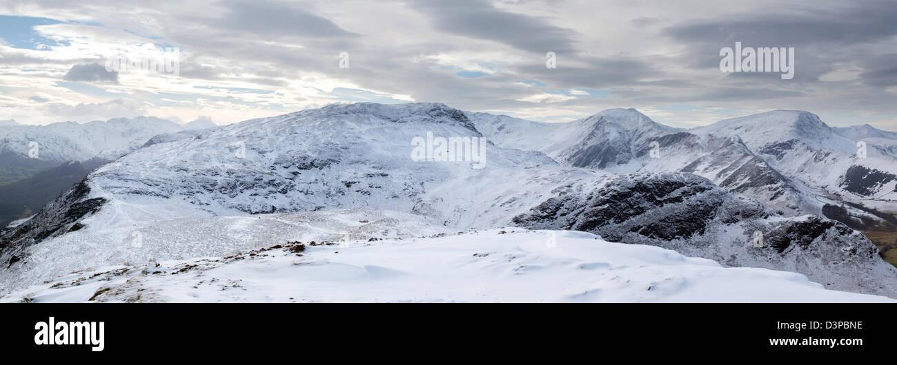 Catbells Derwentwater Keswick winter mountains Lake District UK - Stock Image