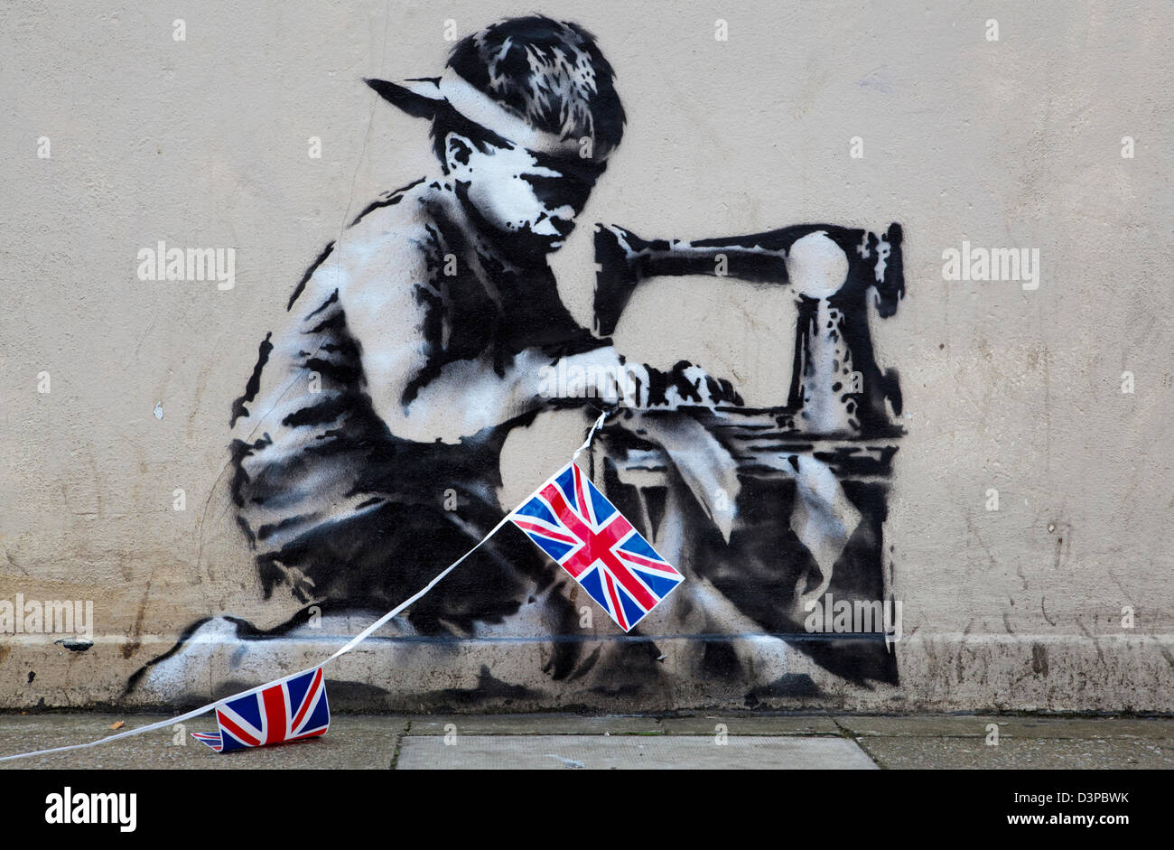 A Work From Graffiti Artist Banksy That Appeared On A Wall Of The Retailer Poundland Shortly Before The Start Of The 2012 Olympic Games In The City Has Been