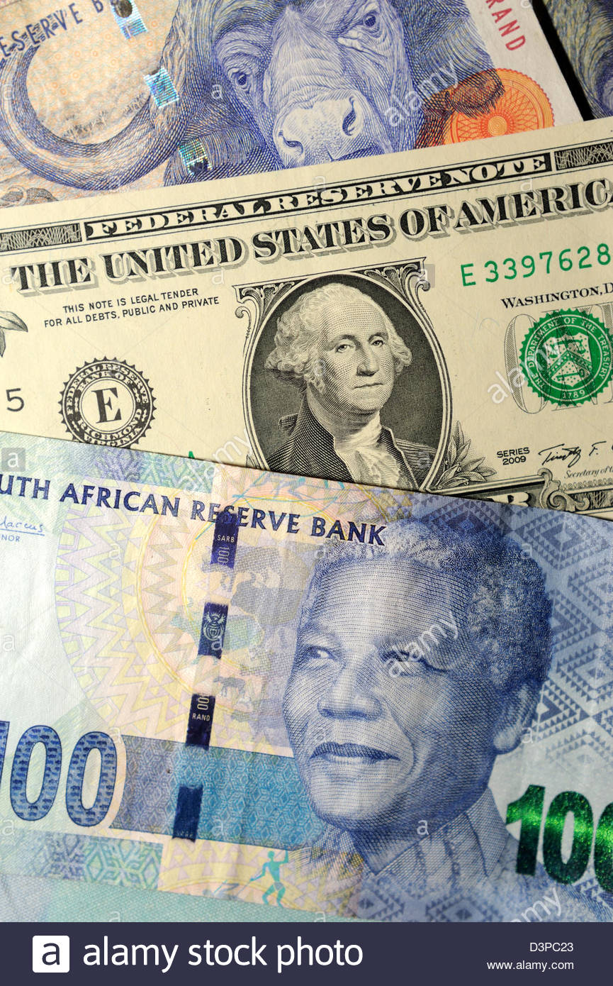 South African Rand and US Dollars - Stock Image