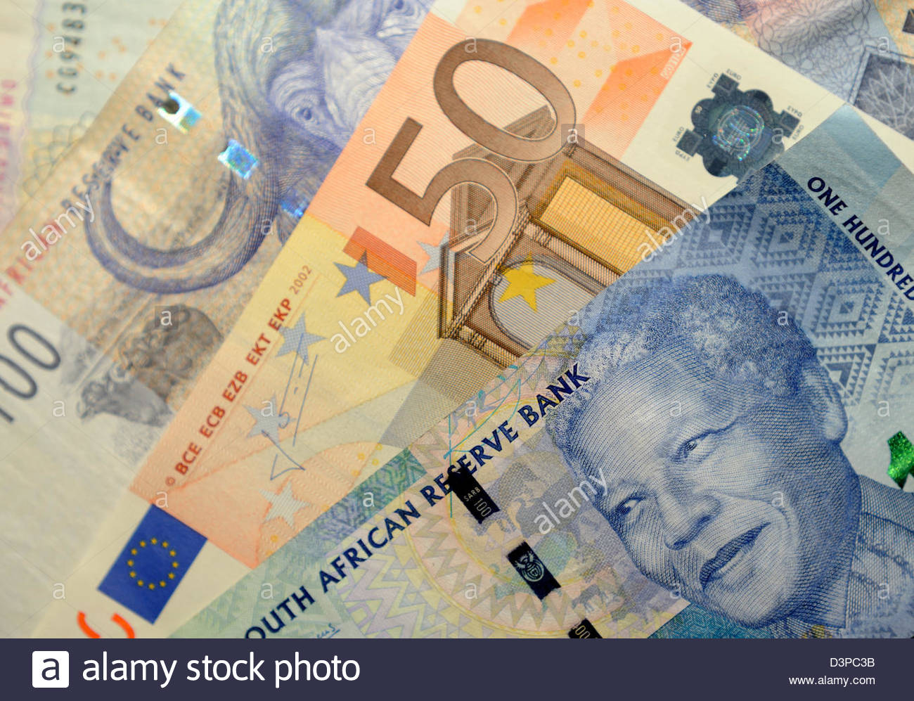 South African Rand and Euro notes - Stock Image