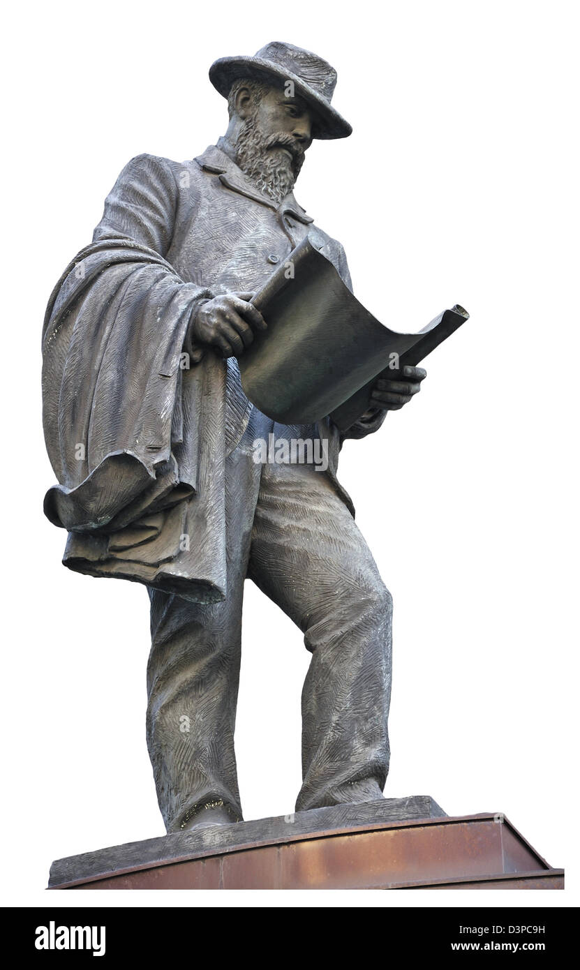 London, England, UK. Statue (by James Butler, 1994) of James Henry Greathead (Railway engineer, 1844-1896) in Cornhill - Stock Image