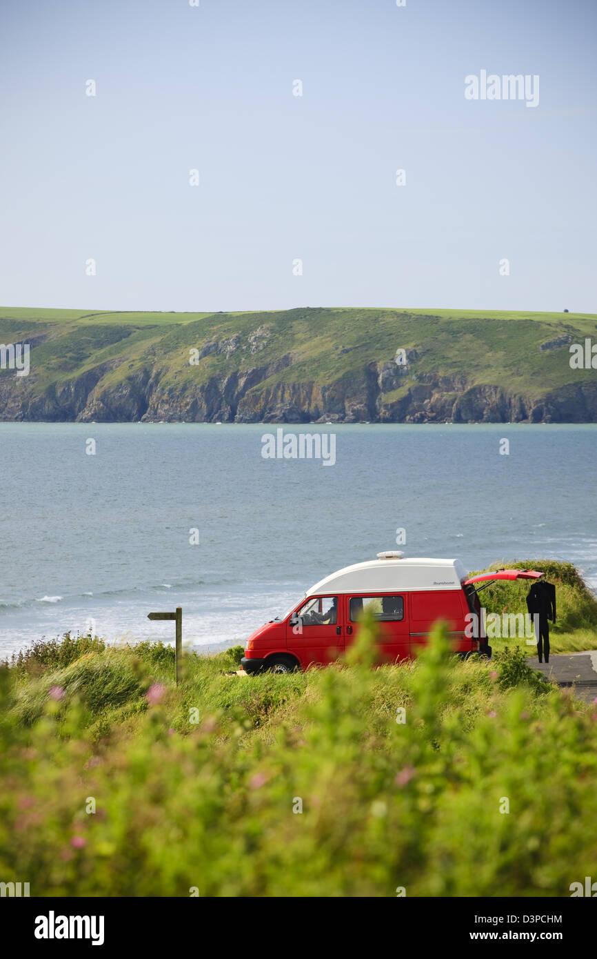 Camper Van Newgale St Brides Bay Haverfordwest Pembrokeshire Wales - Stock Image