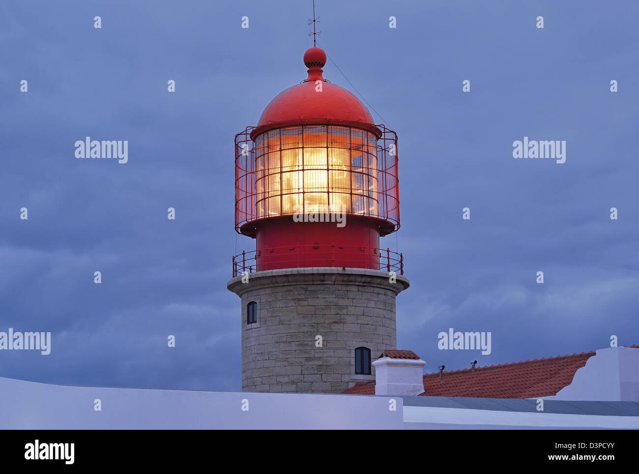 Portugal, Algarve: Top of the Lighthouse at Cape St. Vincent with light Stock Photo