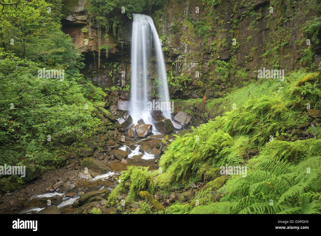 Melin Court (also Melin Cwrt) waterfall Resolven Vale of Neath Neath & Port Talbot South Wales UK - Stock Image