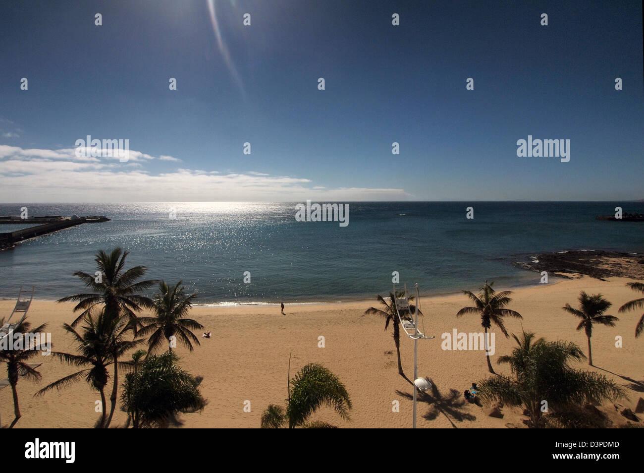 beach at arrecife lanzarote, canary islands, spain - Stock Image