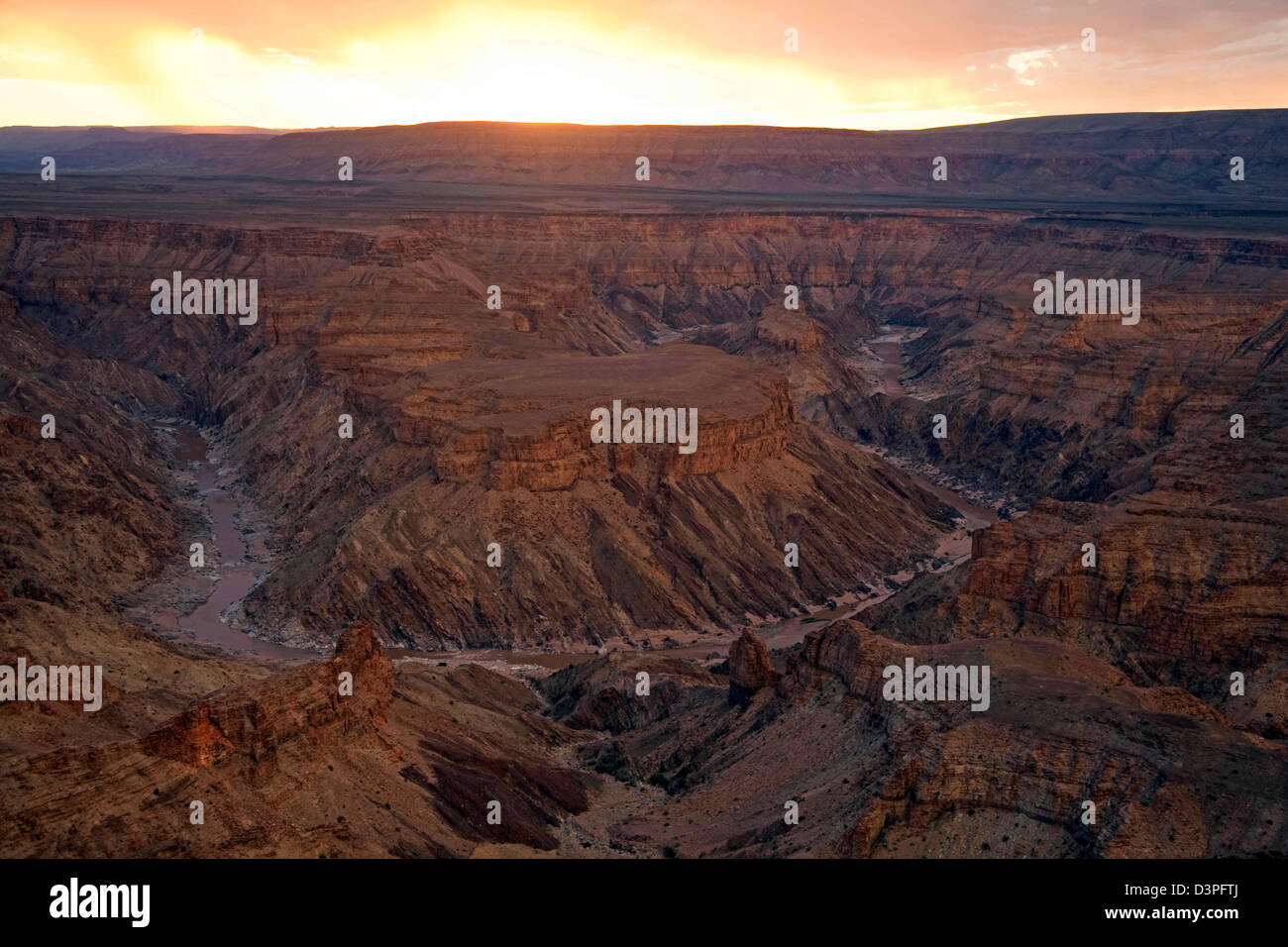 Fish River Canyon, second largest canyon in the world at sunset, Namibia, South Africa - Stock Image