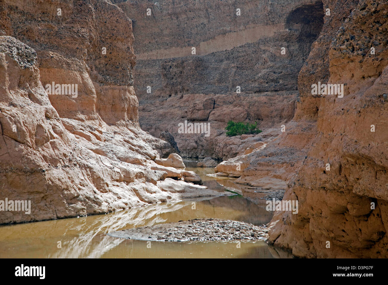 Sesriem canyon carved by the Tsauchab rivier in the Namib Desert, Namib-Naukluft National Park, Namibia, South Africa - Stock Image