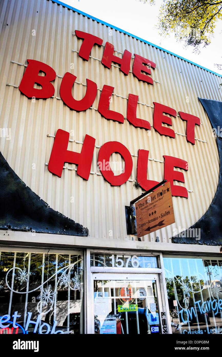 The Bullet Hole Gun Shop on Main Street in Sarasota Florida - Stock Image