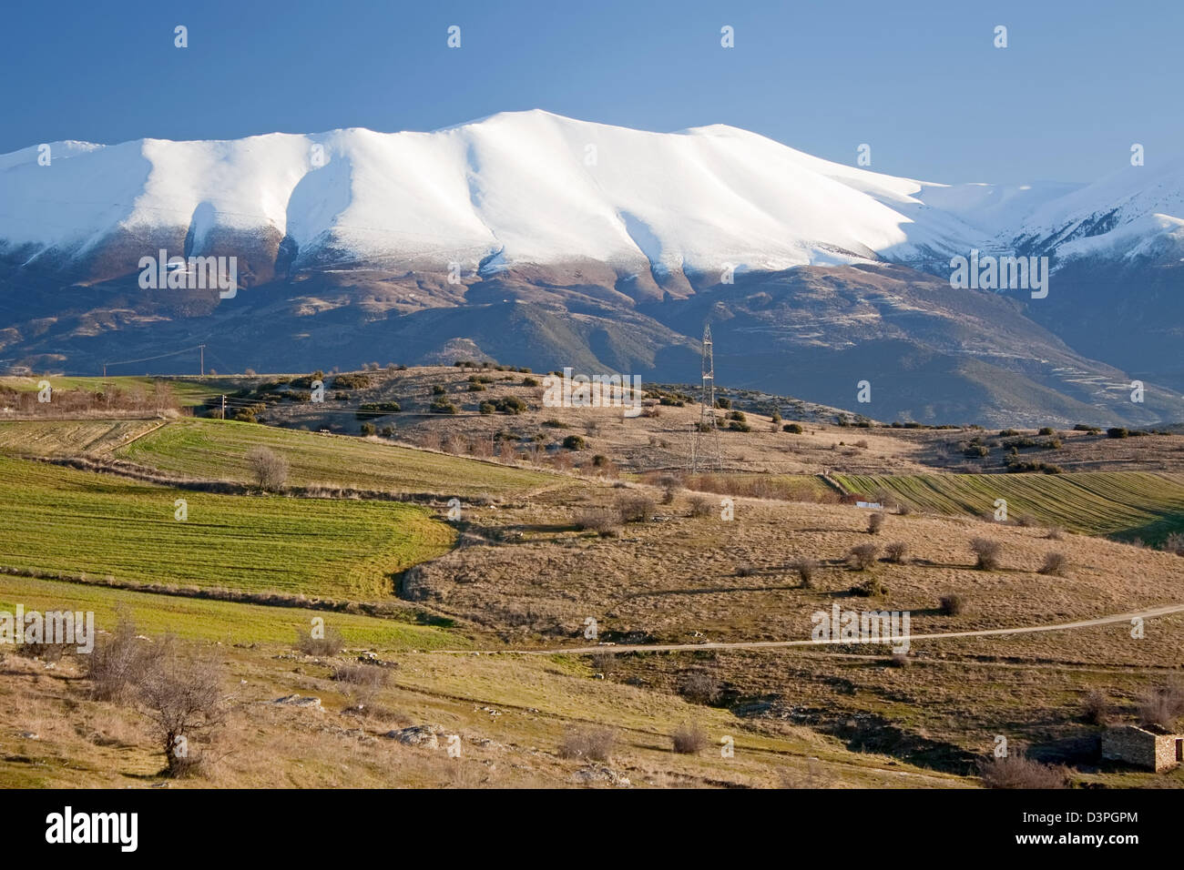 The southern side of the Greek mountain of gods, the Olympus mountain - Stock Image