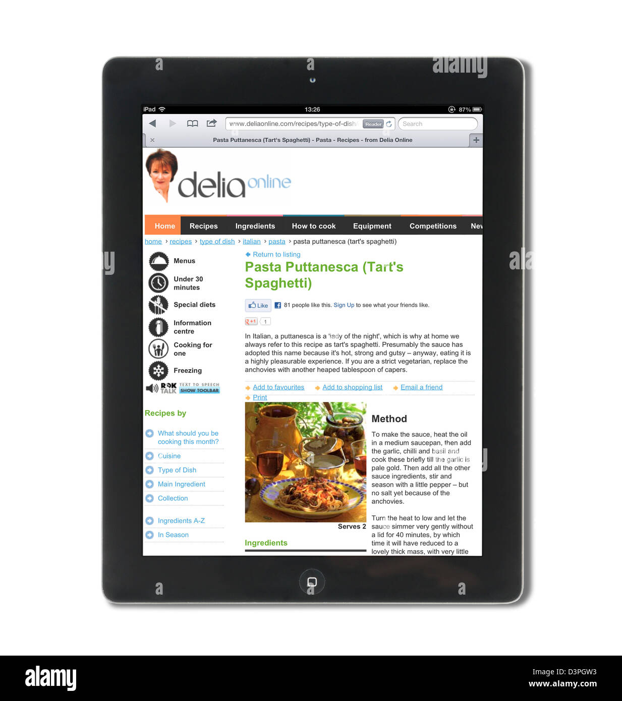 Viewing a Delia Smith recipe at the deliaonline.com website on an iPad - Stock Image