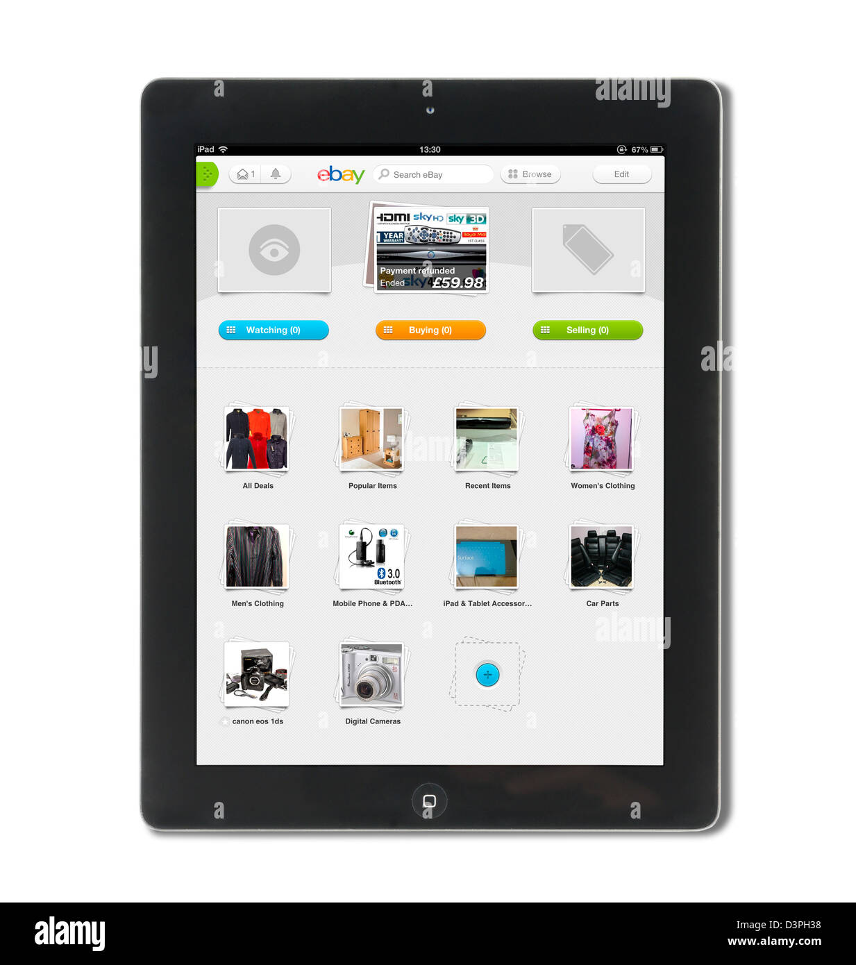 Looking at one's account page with the ebay app on a 4th generation Apple iPad, UK - Stock Image