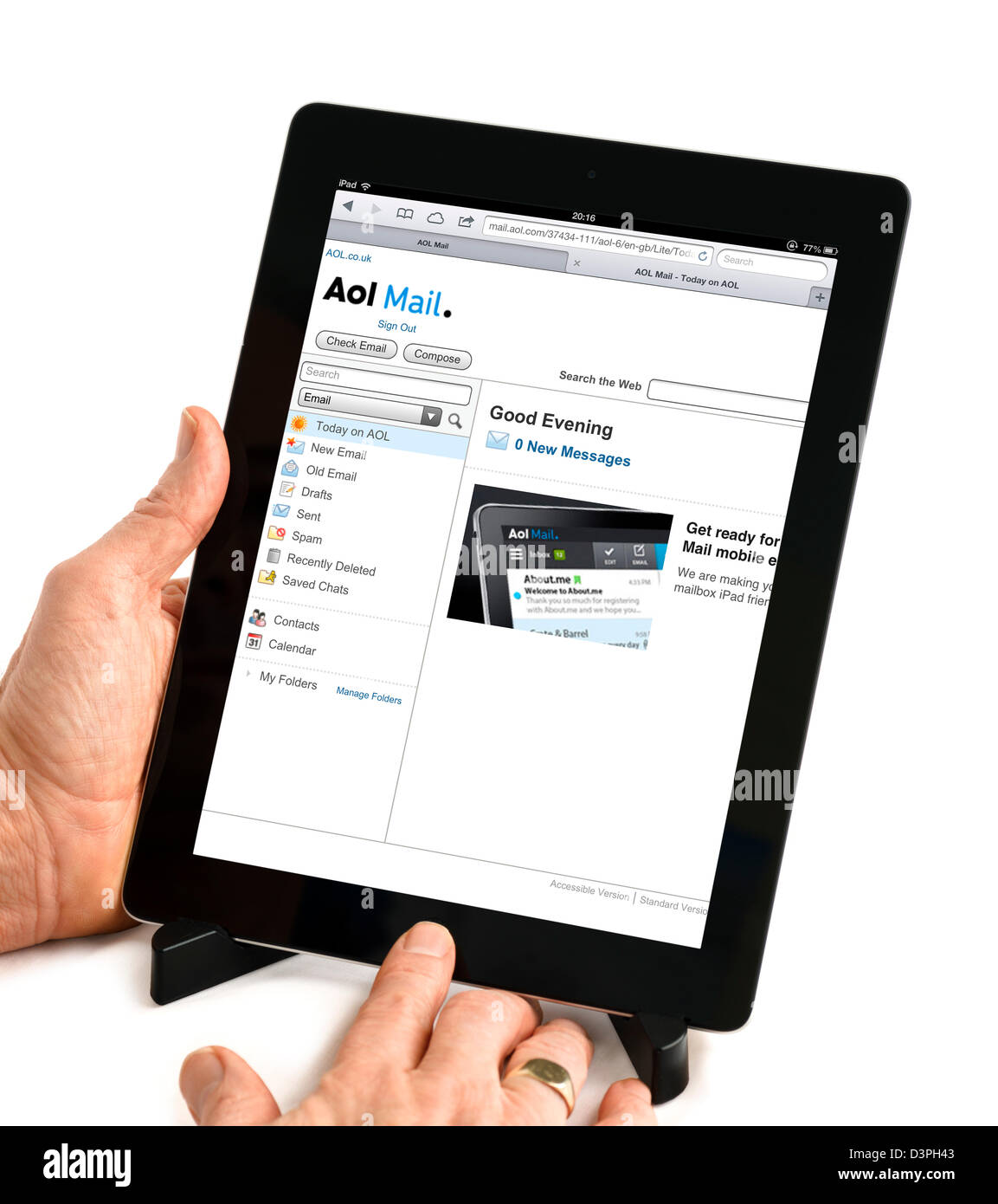 AOL email account viewed on a 4th generation iPad, UK - Stock Image