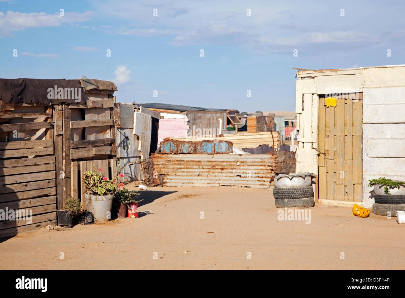 Improvised shacks, made from scrap materials at slum near Swakopmund, Namibia, South Africa - Stock Image