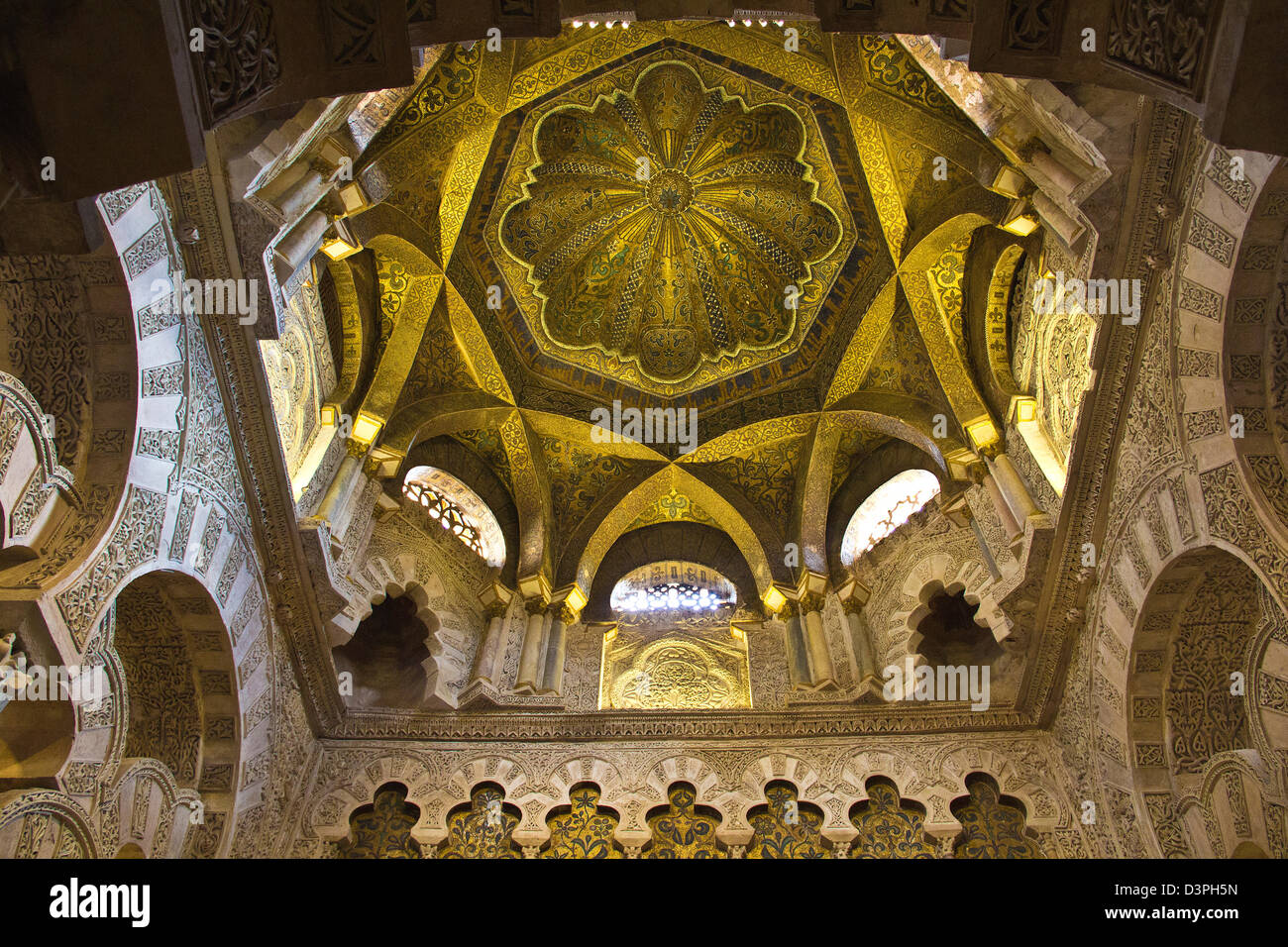 Interiors Alcazar Seville, Royal Palace, Gold roof, Spain Andalusia - Stock Image