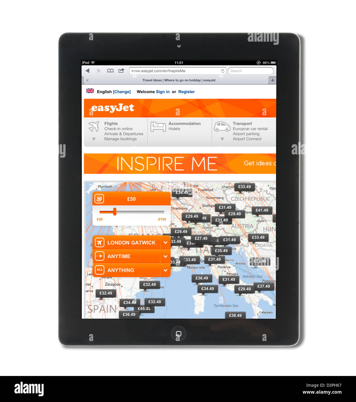 The easyjet.com website viewed on a 4th generation Apple iPad tablet computer - Stock Image