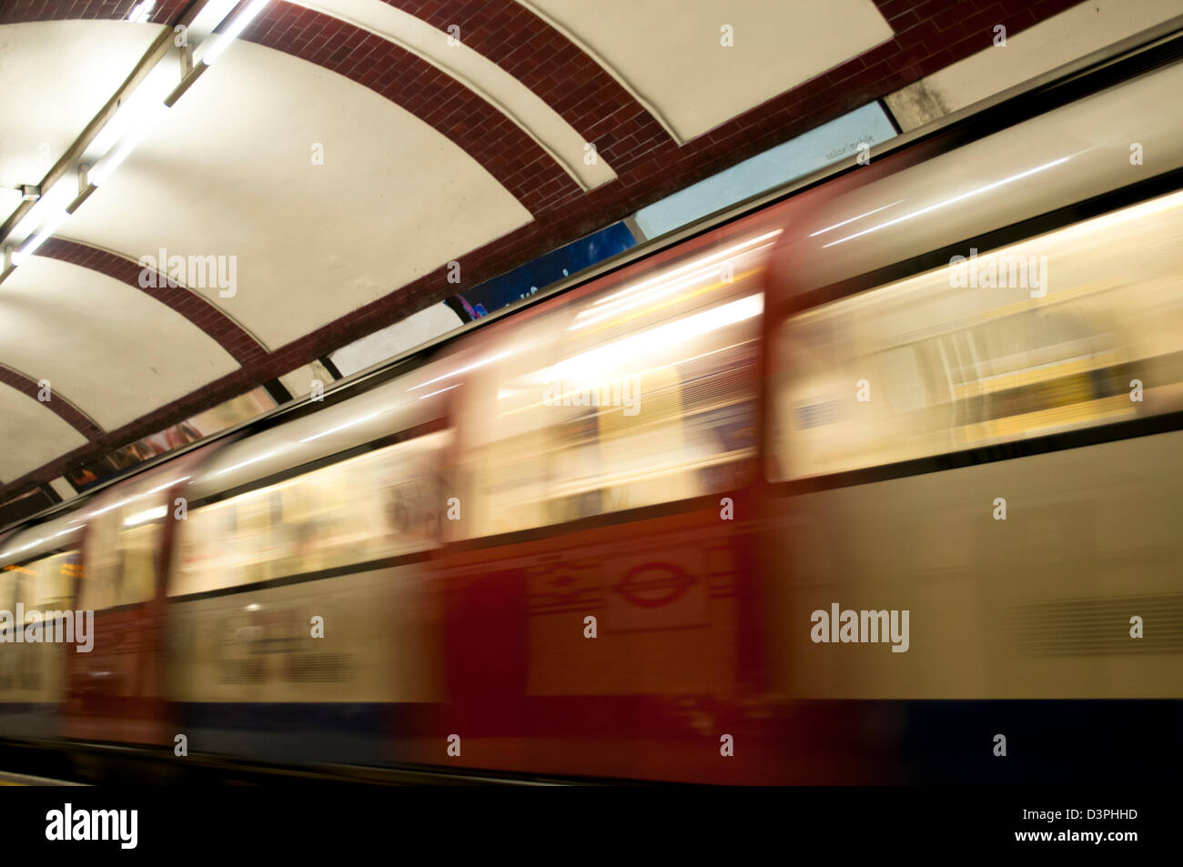 Blurred motion of an underground train, London, UK - Stock Image