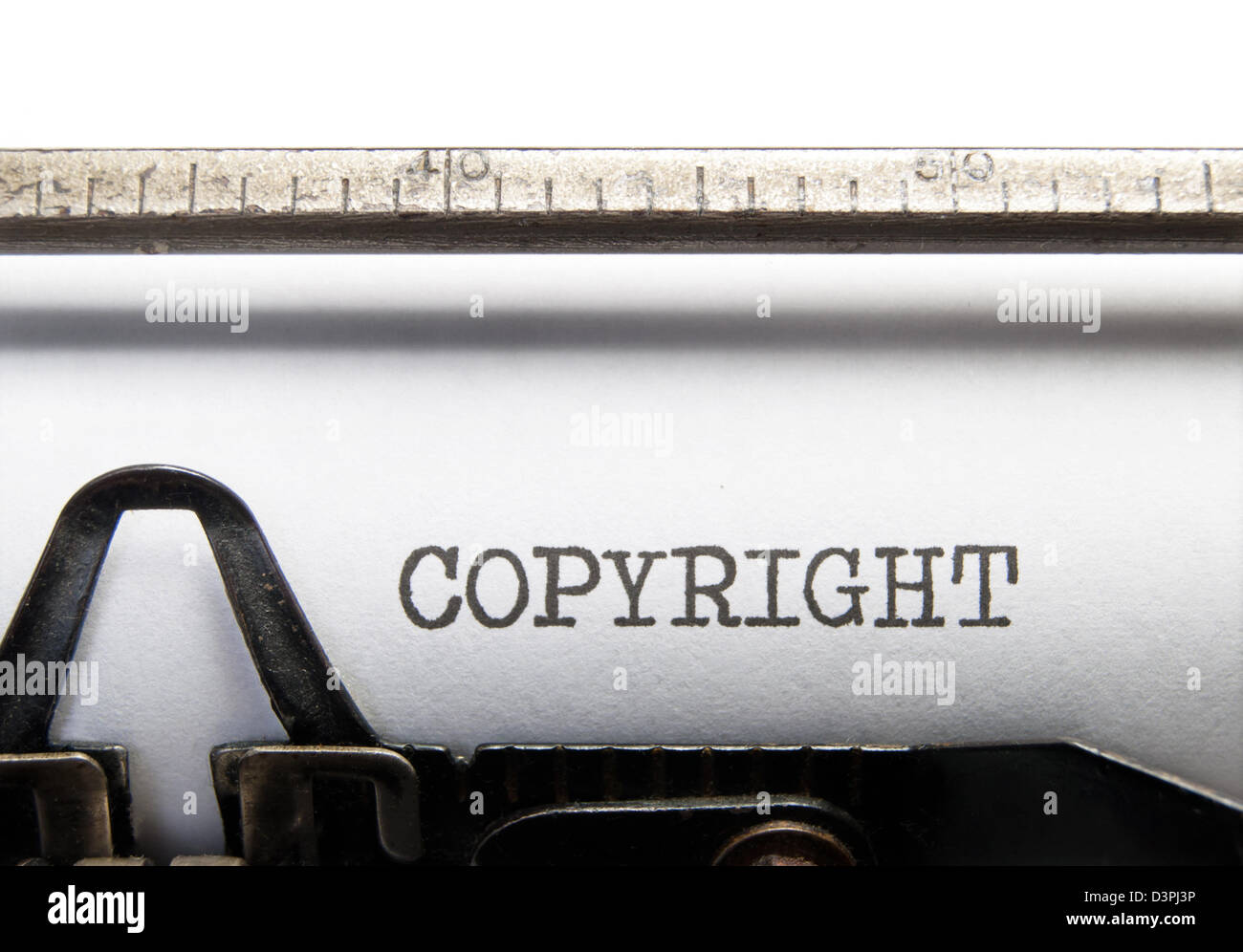Copyright title printed on an old fashioned typewriter - Stock Image