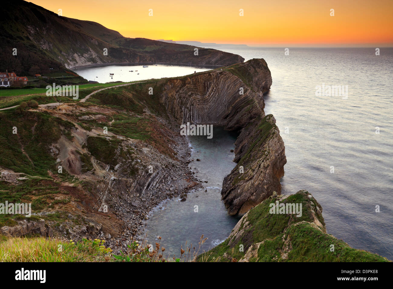 Stair Hole and Llulworth Cove at sunrise, Dorset - Stock Image