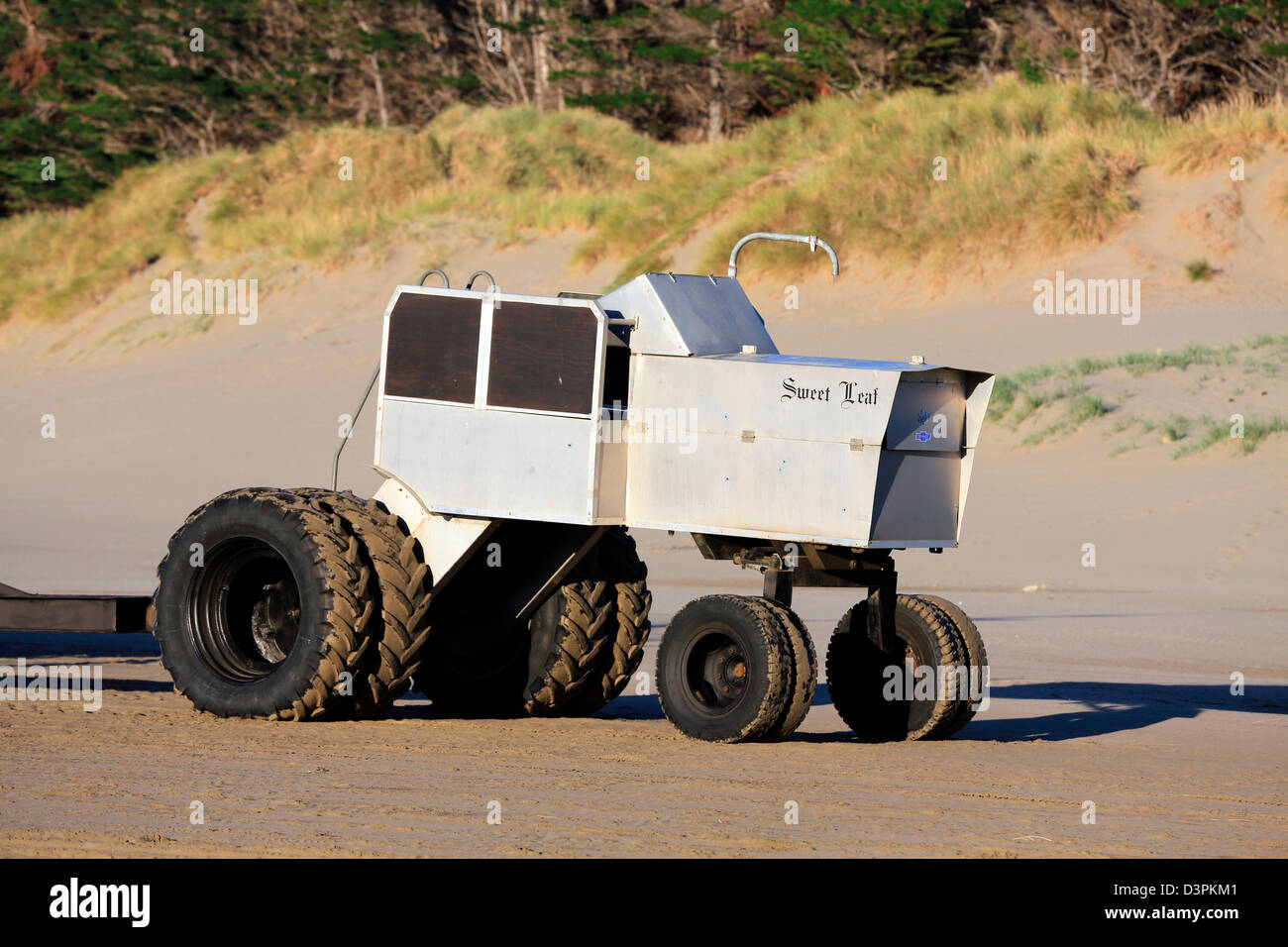 Unusual aluminum fishing boat tractor at Castlepoint in the Wairarapa - Stock Image