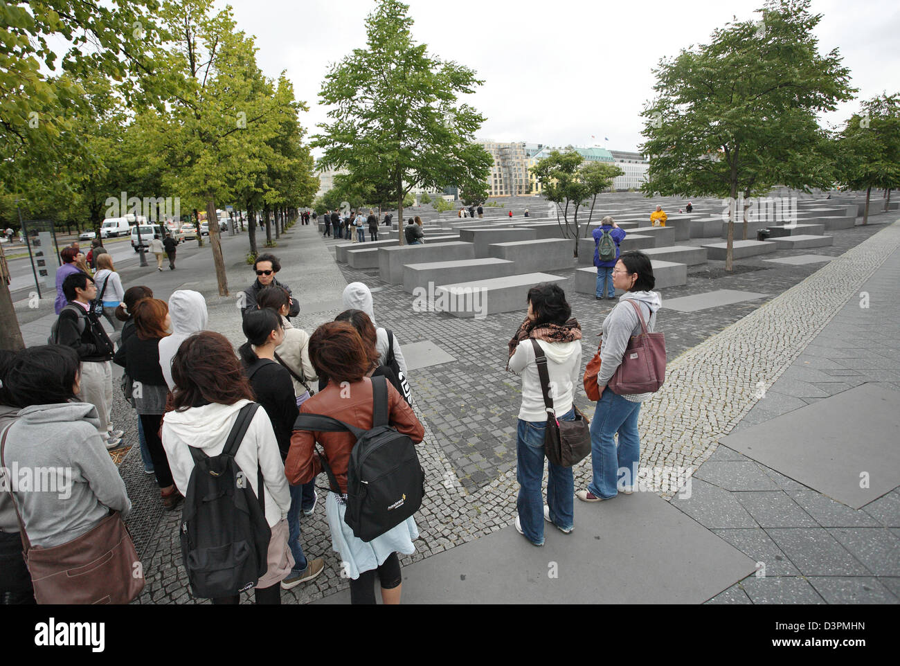 Berlin, Germany, Asian tourists in front of the Monument to the Murdered Jews of Europe Stock Photo