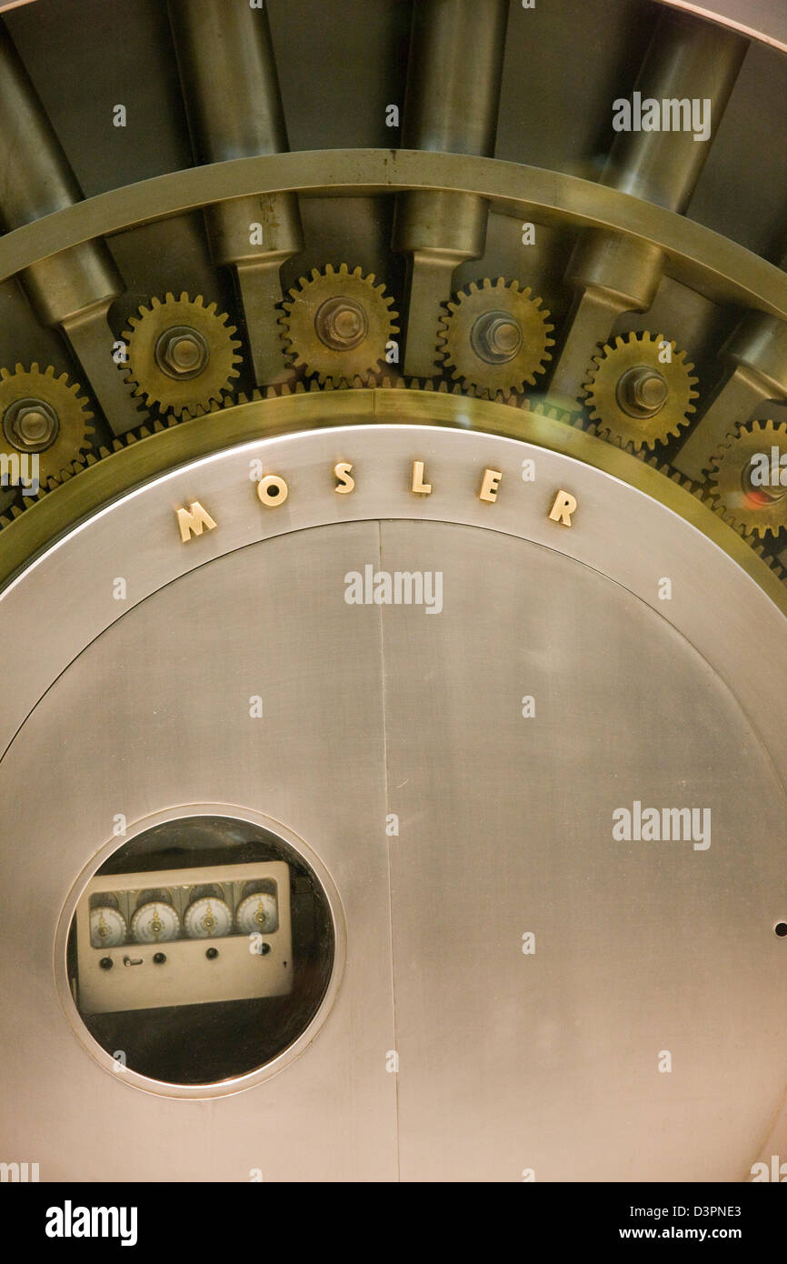 Large bank vault safe in a shop window on Fifth 5th Avenue in New York Stock Photo