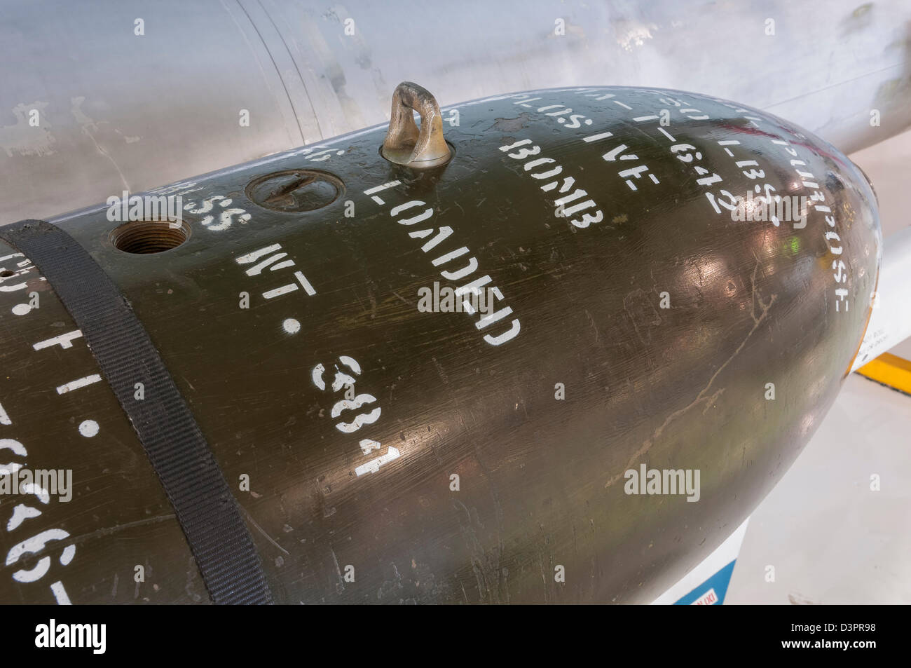 M117 750 lb conventional bomb, Wings over the Rockies Air and Space Museum, Denver, Colorado. - Stock Image
