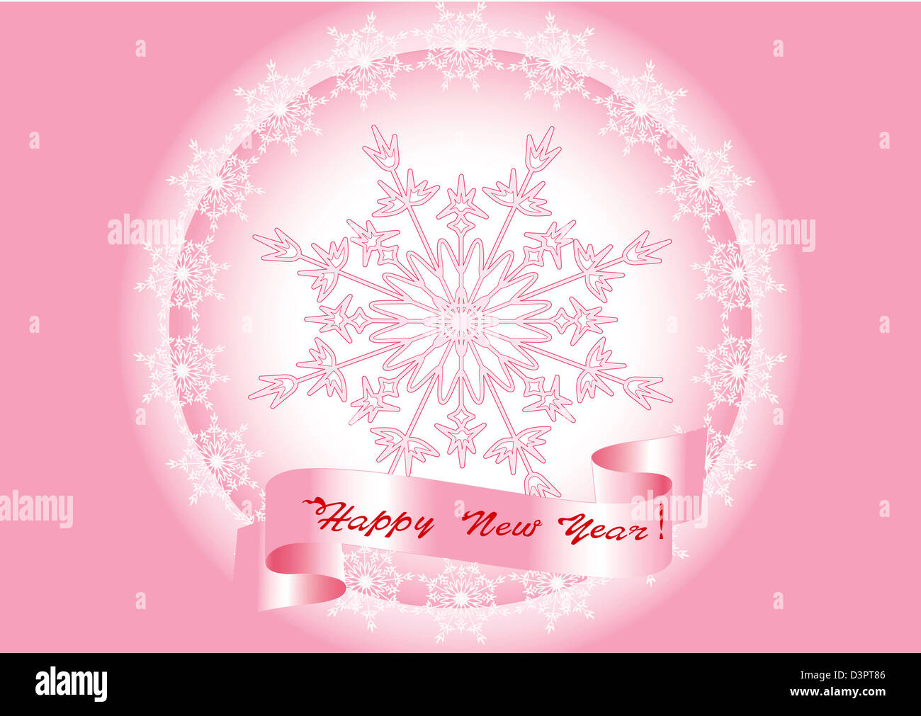 Card with the New Year and Merry Christmas. - Stock Image