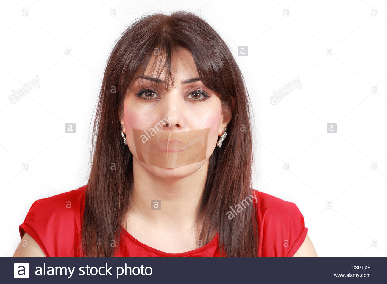 Woman Mouth Taped Stock Image