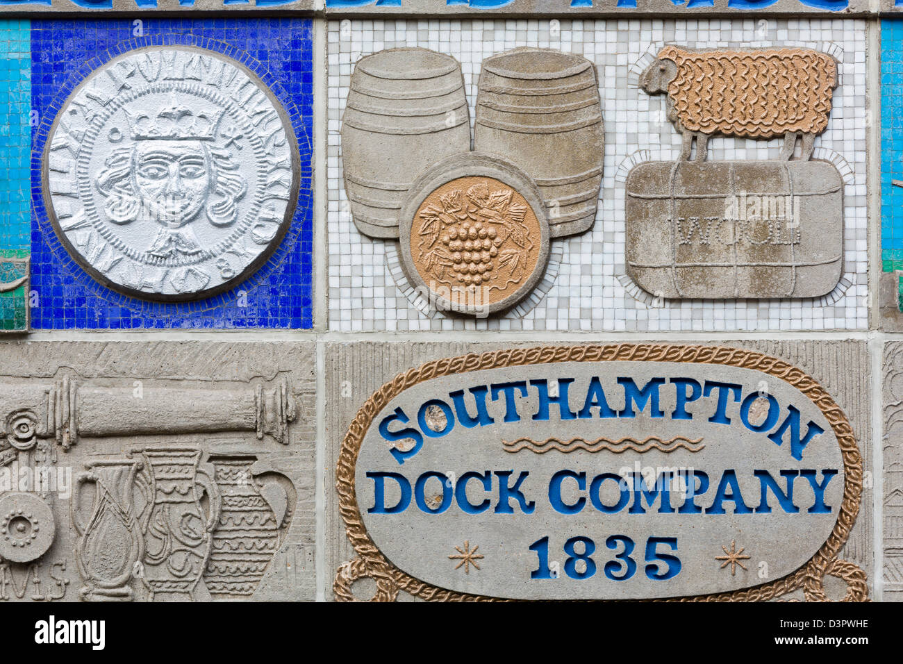 Mosaic on Castle House by Henry Collins,Southampton,Hampshire County,England,United Kingdom - Stock Image