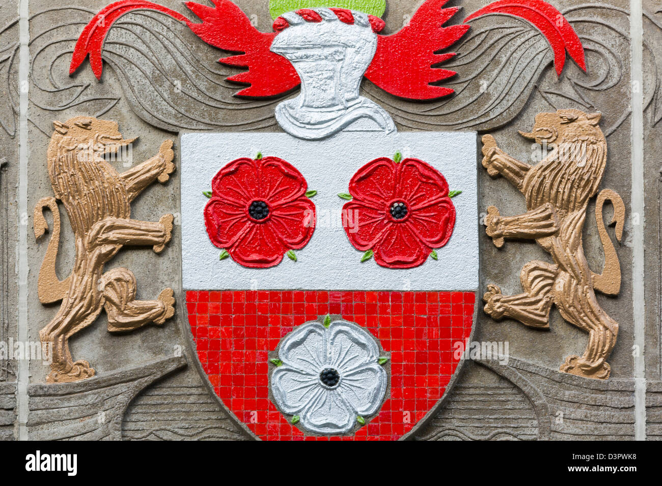 Crest on Castle House by Henry Collins,Southampton,Hampshire County,England,United Kingdom - Stock Image