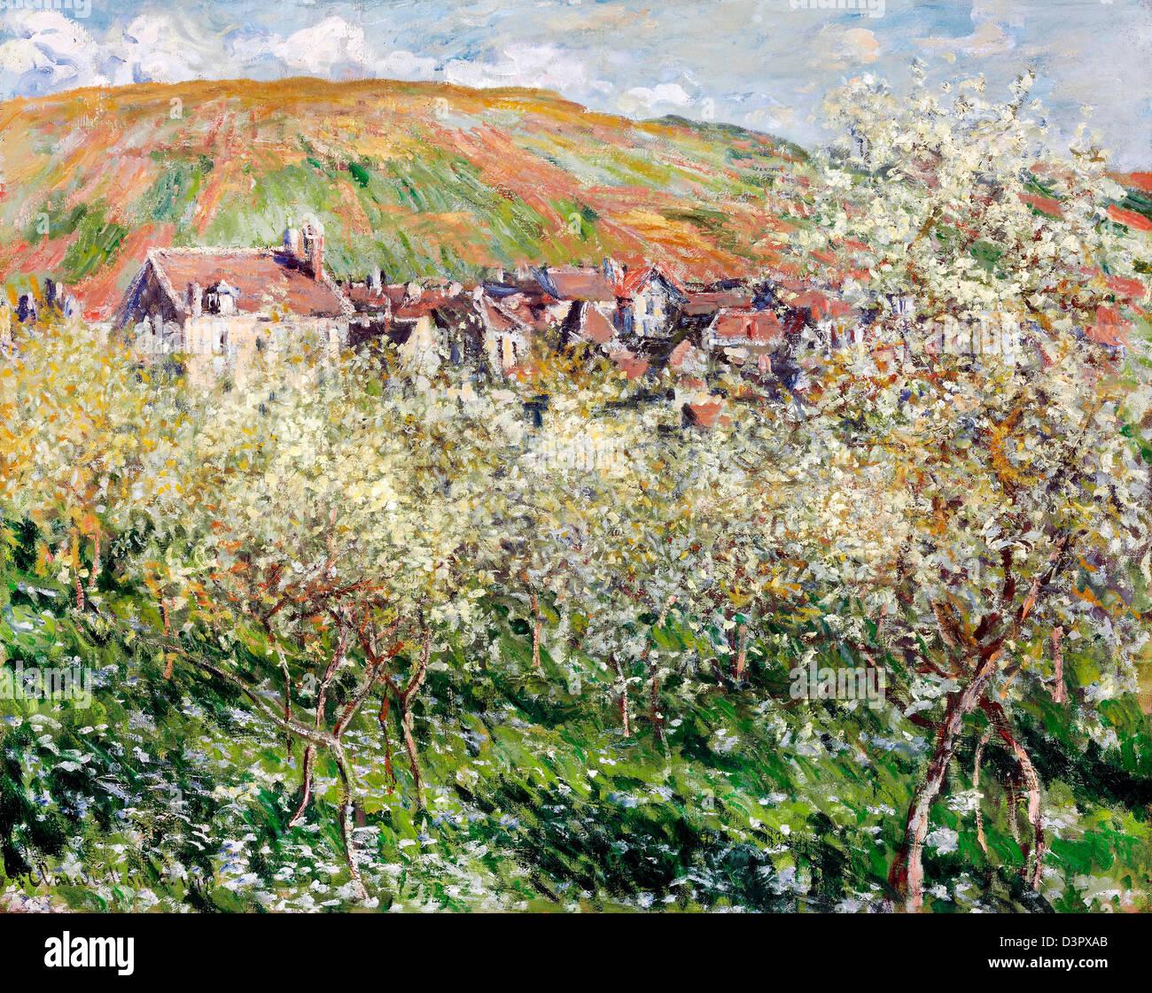 Claude Monet, Flowering Plum Trees 1879 Oil on canvas. Museum of Fine Arts, Budapest - Stock Image