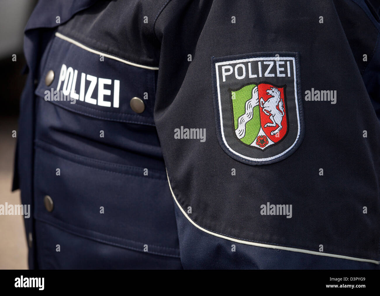 Duesseldorf, Germany, new blue police uniform - Stock Image
