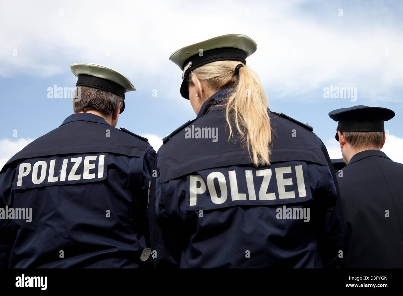 Duesseldorf, Germany, police officers with the new blue uniform - Stock Image