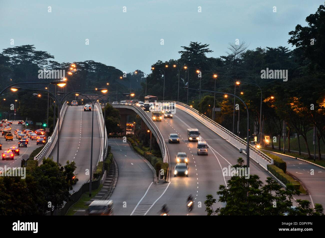 Evening car traffic on flyover bridge - Stock Image