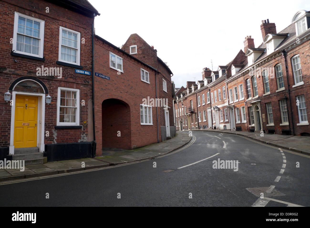 Cross Hill and St Johns Hill street view and housing Shrewsbury Shropshire England UK  KATHY DEWITT - Stock Image