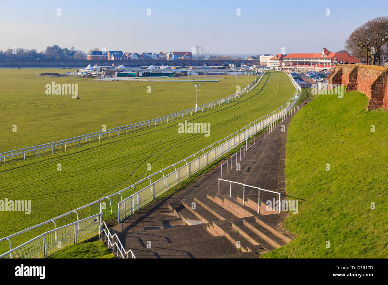 Racecourse and stand in The Roodee, Chester, Cheshire, England, UK, Britain - Stock Image