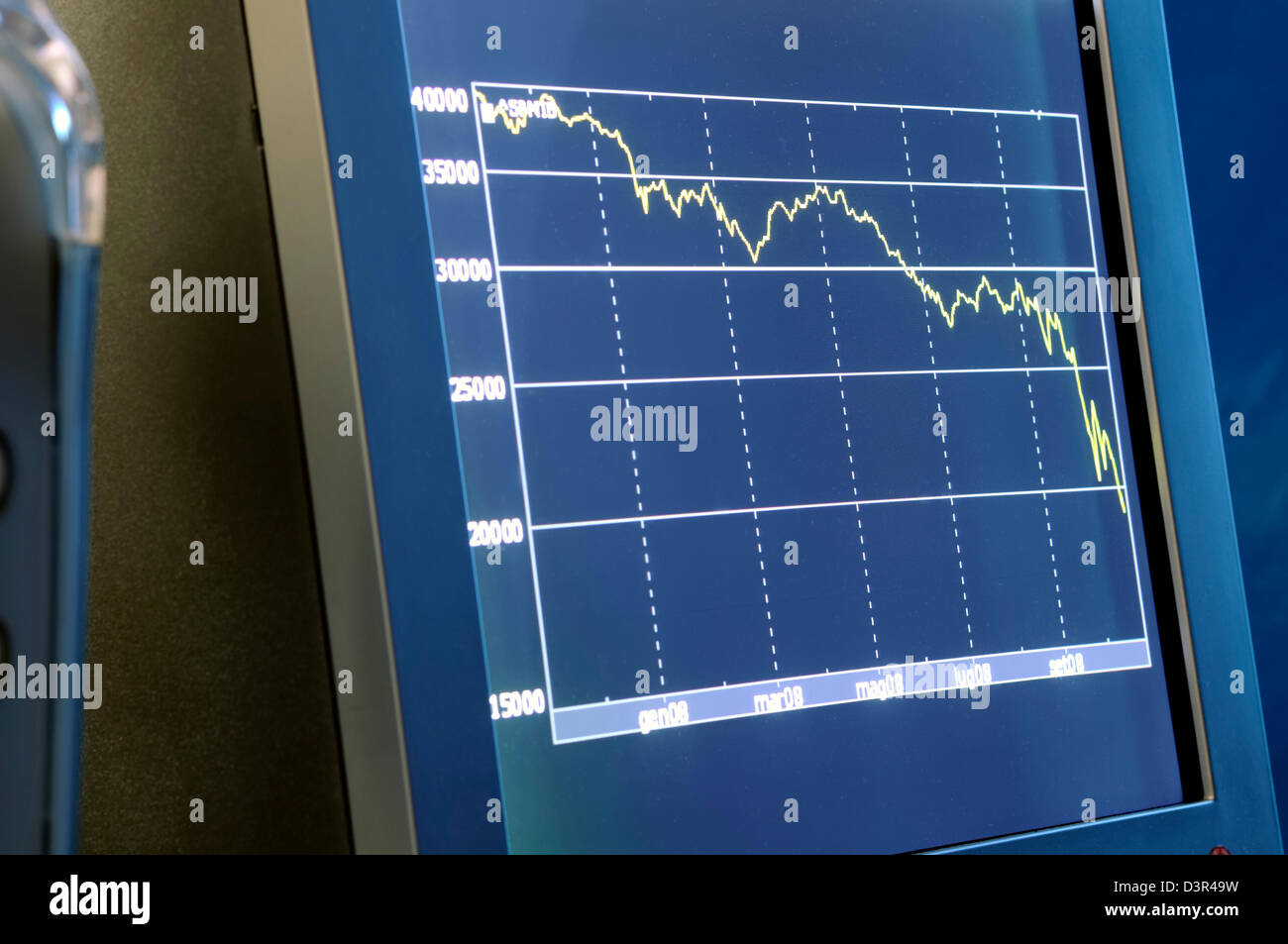 Chart on the computer monitor - Stock Image