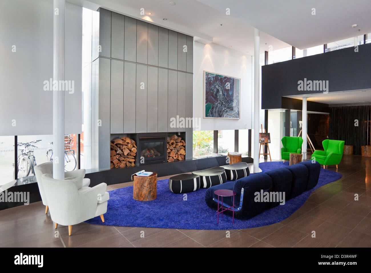 Interior of the boutique-style Diamant Hotel in New Acton. Canberra, Australian Capital Territory (ACT), Australia - Stock Image