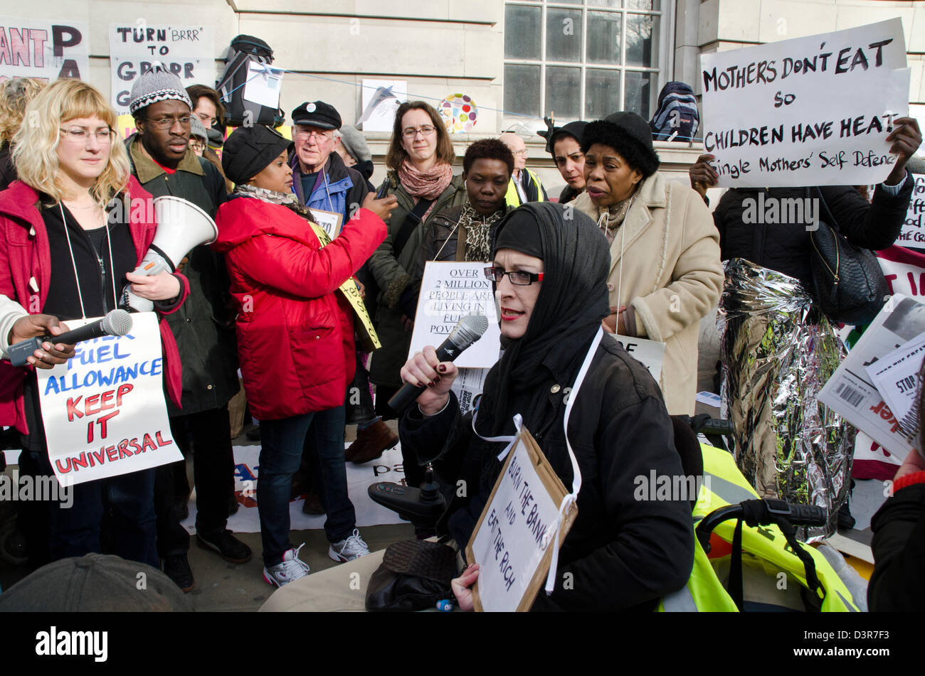 DISABILTY GROUP PROTESTING LATEST FUNDING AND BENEFIT CUTS - Stock Image
